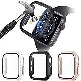 VASG [3 Stück] Glas Hülle Kompatibel mit Apple Watch Series 6/5/4/SE 40mm, PC Gehäuse mit Hartglas Bildschirmschutz für iWatch Schutzhülle Voller Superdünner Puffer