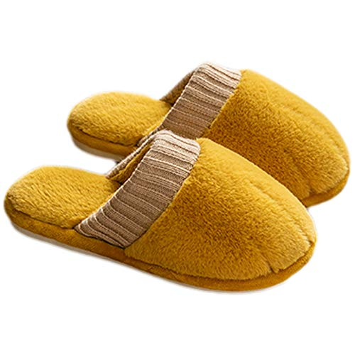 Xin Hai Yuan Zapatillas De Piel para Mujer, Zapatos De Interior De Invierno, Zapatillas De Garra De Gato Bonitas, Zapatillas De Felpa Peludas para Mujer,Amarillo,39/40