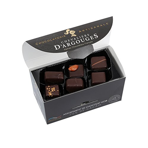 CHEVALIERS D'ARGOUGES Maîtres Chocolatiers Français, Assortiment de Chocolats Noir 70 Ballotin Dégustation 185 g, 1 unité