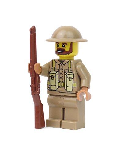 Britischer Soldat   Ausgerüstet mit BrickArms Lee Enfield und Brodie Helm   Bedruckte Custom Figur