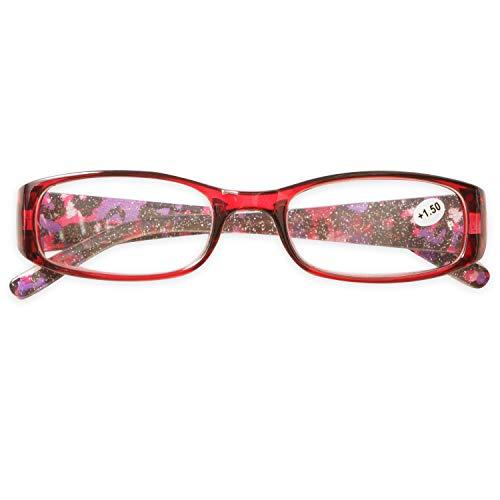 KOOSUFA Lesebrille Damen Herren Qualität Rechteckige Anti Müdigkeit Brille Lesehilfe Sehhilfe Retro Designer Mode Vollrandbrille mit Stärke 1.0 1.5 2.0 2.5 3.0 3.5 4.0 (1x Rot, 3.0)