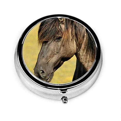 Pastillero marrón negro caballo, soporte para vitaminas medicinales con 3 compartimentos, estuche portátil para bolso, regalo de viaje
