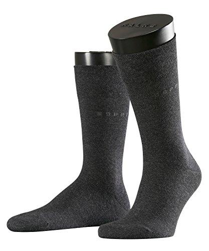 ESPRIT Herren Socken Basic Easy 2-Pack - 80% Baumwolle, 2 Paar, Grau (Anthracite Melange 3080), Größe: 39-42