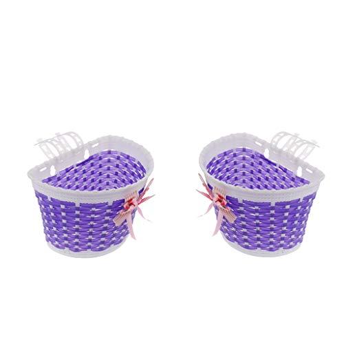 yotijar 2Pcs Bike Front Basket Girls Boys Children Shopping Holder Bowknot Basket