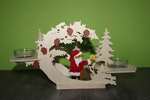 Weihnachtsdeko aus Holz für 3 Kerzen Weihnachten Dekoration Beleuchtung Weihnachtsmann