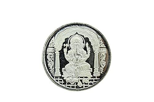 Rajasthan gems Moneda religiosa de plata fina 999 India Dios Lord Ganesha Om con caja de regalo