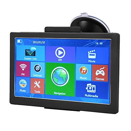 Navigatore GPS con touchscreen da 7 pollici.Aggiornamento gratuito delle mappe a vita.Navigazione GPS per camion con promemoria vocale, funzioni multimediali supportano musica, film o giochi, ecc.