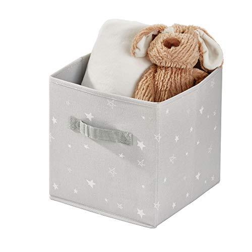 iDesign stoffen box, middelgrote opvouwbare opbergbox van katoen-polyester-mengsel met 2 handgrepen aan de zijkant, patroon opbergbox voor kast, slaap- en kinderkamer, grijs