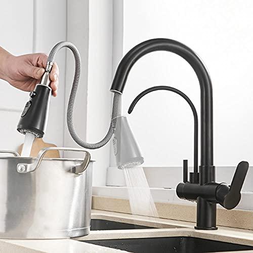 Grifo Cocina 3 Vias con Ducha Extraible Latón 3 en 1 Faucet Purificador de Agua Giratorio Agua Potable Recta Agua Fría y Caliente Grifo de Cocina-B