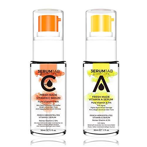 Day & Night Vitamin C Serum Retinol Serum 2020 Revolutionary Locking Fresh Design | Unique space capsule design | Professional anti-aging and anti-wrinkle serum (2 PACK - VC VA)