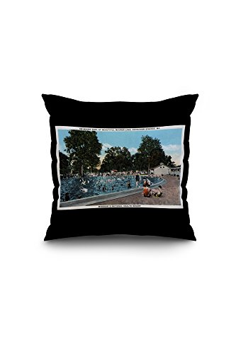 Excelsior Springs, Missouri - Swimming Pool Scene at Maurer Lake (18x18 Spun Polyester Pillow Case, White Border)