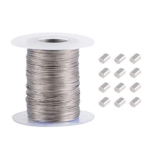 PandaHall alrededor de 100 m/rollo de 0,5 mm de alambre para colgar imágenes, marco de fotos de acero inoxidable 304 para colgar alambre con 30 piezas de aluminio prensado para marcos de espej