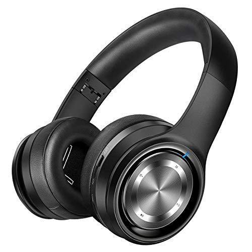 P26 Auriculares Bluetooth, In-Ear 80H de Reproducción Hi-Fi Sonido Estéreo, Bajo Profundo Cable/Inalámbrico/TF, Plegable Inalámbricos Auriculares de Bluetooth 5.0 con Micrófono para Teléfono/TV