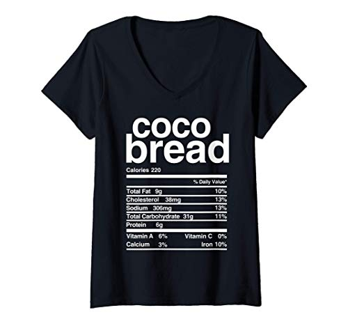 Womens Jamaican Coco Bread Nutritional Value V-Neck T-Shirt