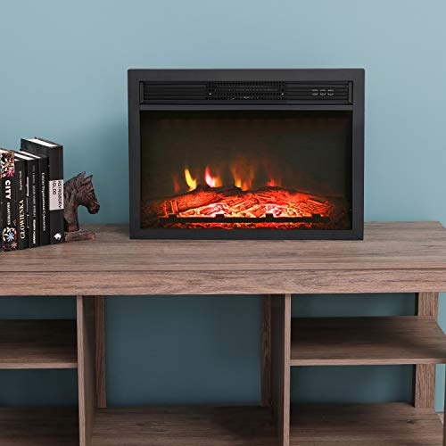LOKATSE HOME 23 Inches Electric Fireplace Insert Heater Log with Realistic Flame Remote Control, Over-heating Protection, Three-speed adjustment 700/1000/1400W, Black