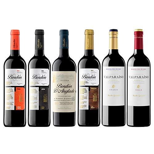 Pack Vinos Tintos de España (6 Botellas) - 1 Bordón Crianza + 1 Bordón Reserva + 1 Bordón D'Anglade Reserva + 1 Bordón Gran Reserva + 1 Valparaíso Roble + 1 Valparaíso Crianza