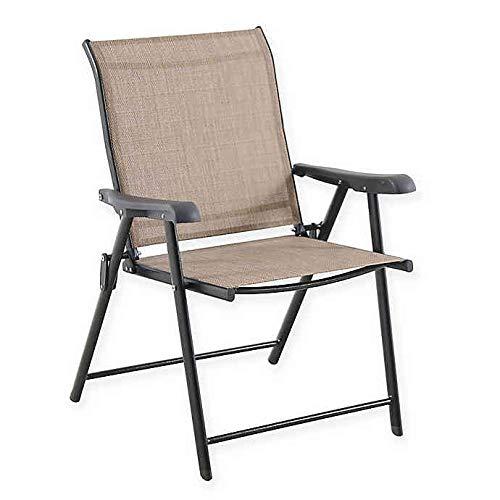 Destination Summer Never Rust Outdoor Aluminum Folding Sling Chair in Brown