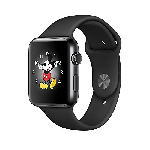 Apple Watch Series 2 42mm - Edelstahlgehäuse Space Grau Schwarz Sportarmband (Generalüberholt)