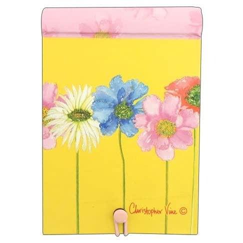 ミニリングカバーノート「カラフルな花」クリストファーヴァインデザイン ストッパー付き 罫線 フリッター加工 おしゃれ 文房具