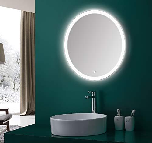 Talos Badspiegel mit Beleuchtung Lunar - Badezimmerspiegel mit ¯ 59 cm - Spiegel rund mit umlaufenden Raumlicht und einem wei§en Metallkorpus