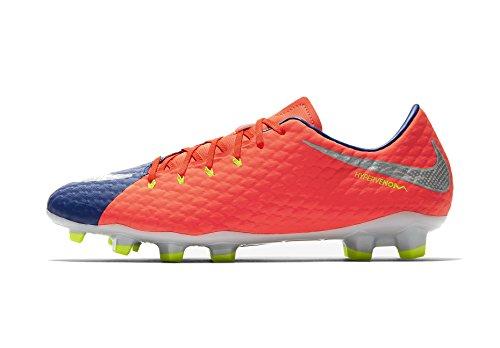 Nike Hypervenom Phelon III Fg, Scarpe da Calcio Uomo, Multicolore (Bleuroyalprofond/cramoisitotal/zested'agrumes/Chrome), 38.5 EU