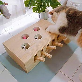 AUSPICIOUSIGN Jeu De La Taupe Interactif Boîte A Jouet Chat Chaton Puzzle en Bois Massif Solide avec Souris Hamster pour Animaux De Compagnie