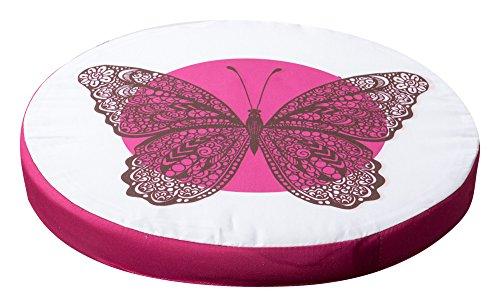 Schmetterlingkissen Sitzkissen Stuhlkissen Kissen Auflage mit Schmetterlingmotiv Ø ca. 40 cm 5 Fruchtmotive (Pink)