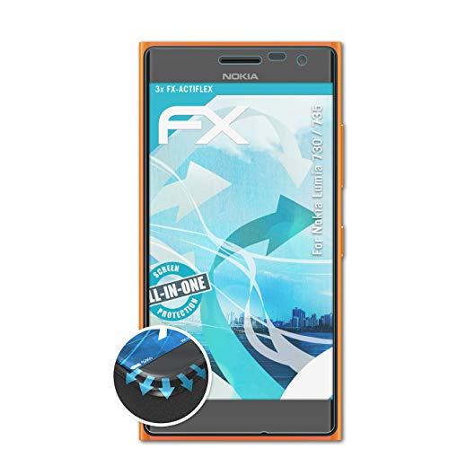 atFolix Schutzfolie kompatibel mit Nokia Lumia 730/735 Folie, ultraklare & Flexible FX Bildschirmschutzfolie (3X)