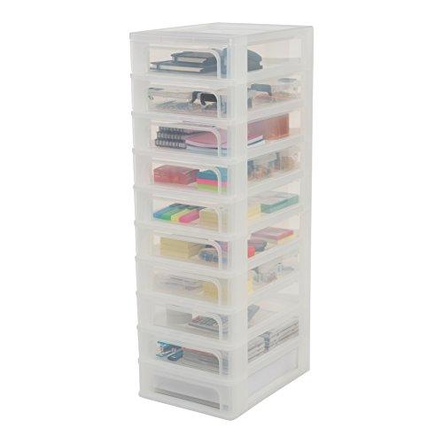 Iris Ohyama Organizer Chest OCH- 2100,  Torre de Almacenamiento con 10 cajónes OCH- 2100- Plástico,  Blanco/Transparente,  40 L,  26 x 35, 5 x 81, 5 cm,  10 x 4 L