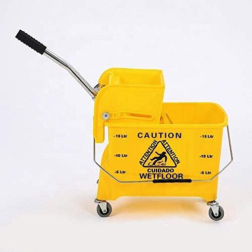 TARGET HYGIENE™ Heavy Duty Single Bucket Wringer Trolley (20 Liter, Yellow, Pack of 1)