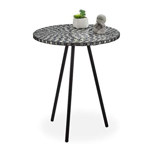 Relaxdays Beistelltisch Mosaik, runder Ziertisch, handgefertigtes Unikat, Mosaiktisch, HxD: 50 x 41 cm, schwarz-weiß
