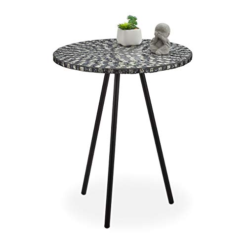 Relaxdays Mosaic Side Table, Round Ornate Vanity Stand, Handmade, Unique, HxD: 50 x 41 cm, Black-White, 50 x 41 x 41cm