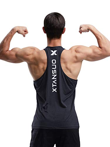 Men's Dry Fit Gym Tank Top Muscle Stringer Y Back T Shirt for Bodybuilding Fitness Training Athletic Workout (Black,XXL)