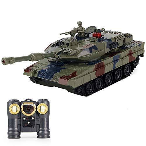 GXZZ 2.4GHz RC Panzer Ferngesteuert Leopard 2A6, 1/24 Panzer Militär Spielzeug mit Gefecht, Schussfunktion, Sound und Lichteffekten