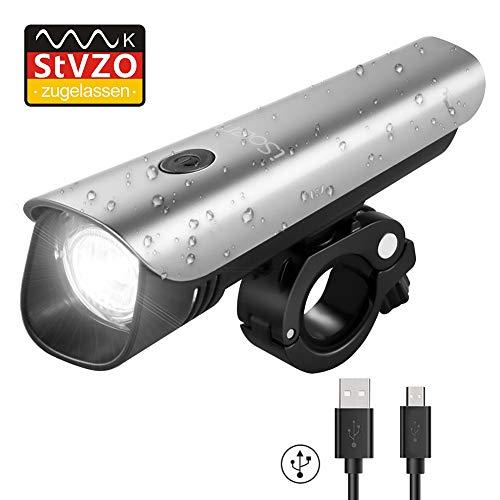 LED Fahrradbeleuchtung, iSolem USB Aufladbar Fahrradlampe, Wasserdicht Fahrradlichter mit StVZO Zugelassen, 60 Lux Akku Fahrrad Frontlicht
