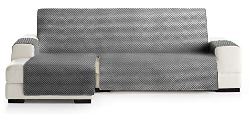 JM Textil Funda Cubre Sofá Chaise Longue Elena, Protector para Sofás Acolchado Brazo Izquierdo. Tamaño -290cm. Color Gris 06 (Visto DE Frente)