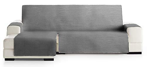 JM Textil Copridivano Salvadivano Chaise Longue Elena, Protezione Imbottita per divani Bracciolo Sinistro. Dimensione -240cm. Colore Grigio 06 (Visto di Fronte)
