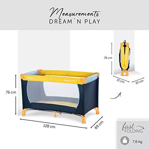 Hauck Kinderreisebett Dream N Play / inklusive Einlageboden und Tasche / 120 x 60cm / ab Geburt / tragbar und faltbar, Mehrfarbig - 2