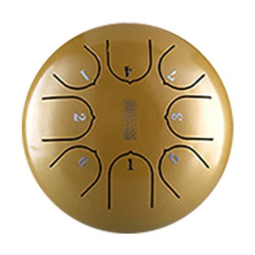 Zungentrommel aus Stahl, 15,2 cm, 8 Noten, C-Key Tragbares Lotus-Handtrommel mit Schlägeln und Tasche für Kinder, Musikerziehung, Geistheilung, Yoga, Meditation