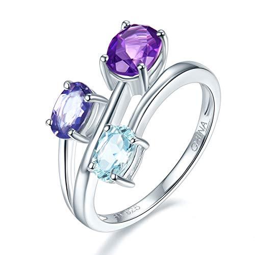 Hutang Jewelry–Pendientes de plata de ley amatista Natural, aguamarina y Iolite anillo