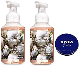 Bath and Body Works 2 Pack White Coconut Caramel Gentle Foaming Hand Soap 8.75 Oz. Travel Size Body Cream 1 Oz.