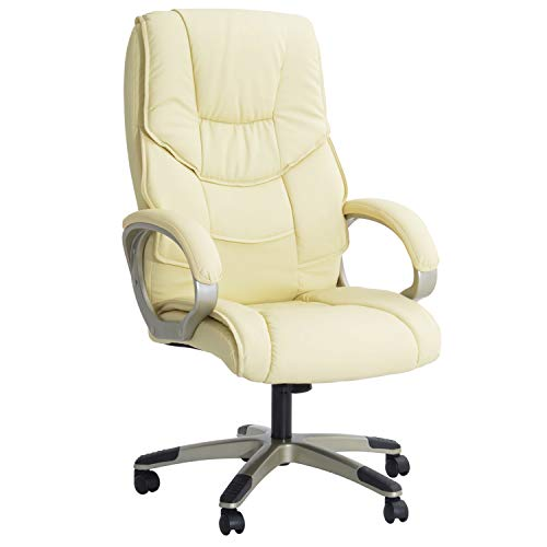HOMCOM Computer Office Swivel Chair Desk Chair High Back PU Leather Height Adjustable w/Rocking Function (Cream)