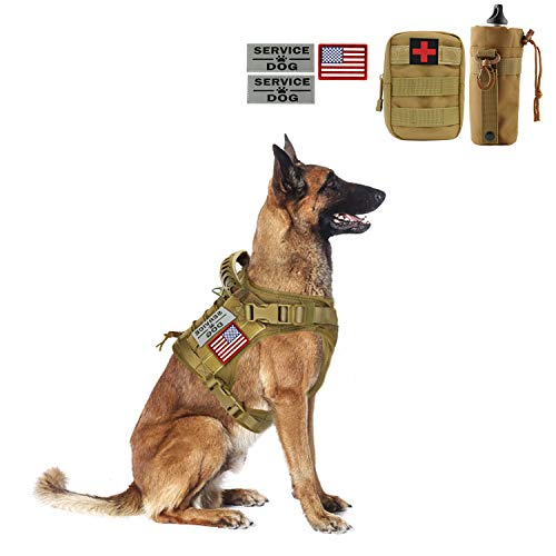 Tactical Dog Vest-Training Outdoor Breathable Harness-Military Water-Resistant Dog Backpack-Pet Tactical -Vest Detachable Pouches-D Ring for Dog Leash (XL, 02Khaki)