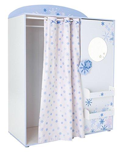 Kleiderschrank B 124 weiß/blau mit Vorhang Mädchen Schrank Drehtürenschrank Wäscheschrank Spiegelschrank Kinderzimmer Jugendzimmer