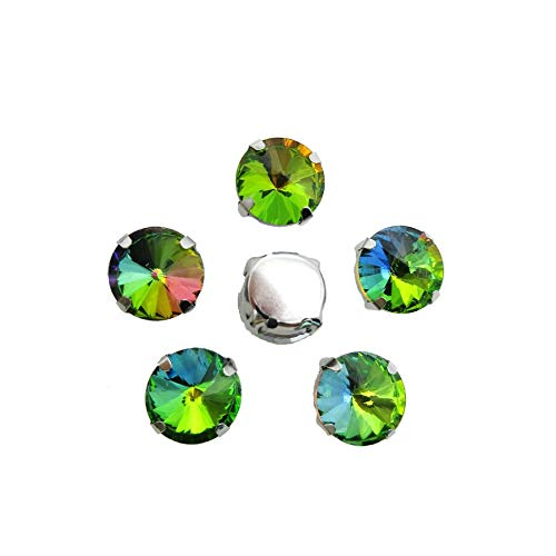 DS-109680 Rainbow Glass Crystal Strass Mix Round Shape 7 Sizes Silver Claw Flatback Sew On Rhinestones Clothes Shoes DIY Decoration - (Type: Rainbow/Size: Mix Sizes 50PCS)