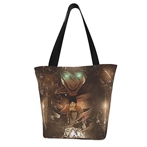 Xbkbhsm Damen Shopper Attack on Titan Schultertasche Damen Tote Taschen Einkaufstasche Falttasche Reißverschluss Große Kapazität