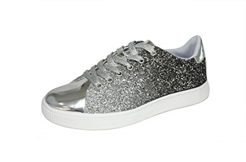 LUCKY STEP Glitter Sneakers Lace up | Fashion Sneakers | Sparkly Shoes for Women (6 B(M) US,Silver)