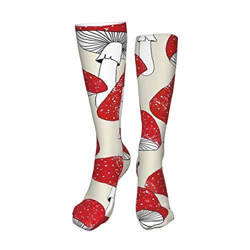 Decams Calcetines unisex de muslo alto, color rojo, calcetines largos, botas altas, calentadores de pierna alta, calcetines deportivos