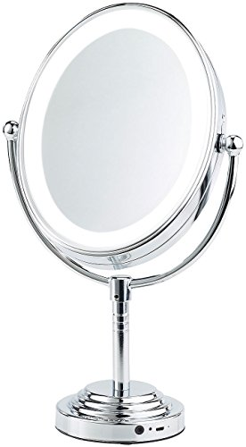 Sichler Beauty Schminkspiegel LED: XL-LED-Kosmetikspiegel, Akku, Bluetooth-Lautsprecher, 1x / 5X Vergröß. (Makeup-Spiegel)