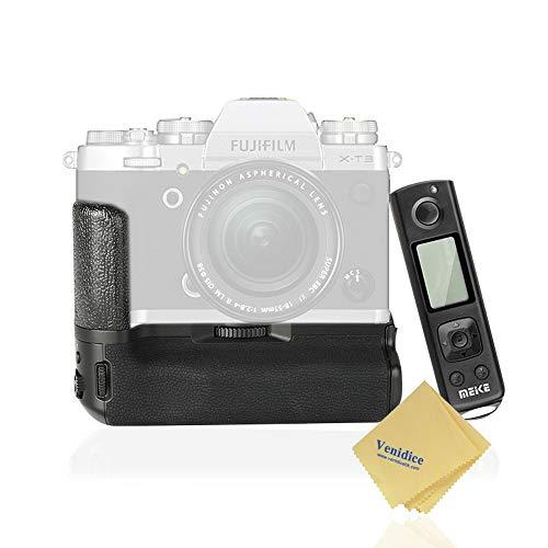 Meike X-T3 Pro - Empuñadura de cámara vertical con mando a distancia inalámbrico de 2,4 G para Fujifilm X-T3, solo funciona con la batería original FUJI NP-W126